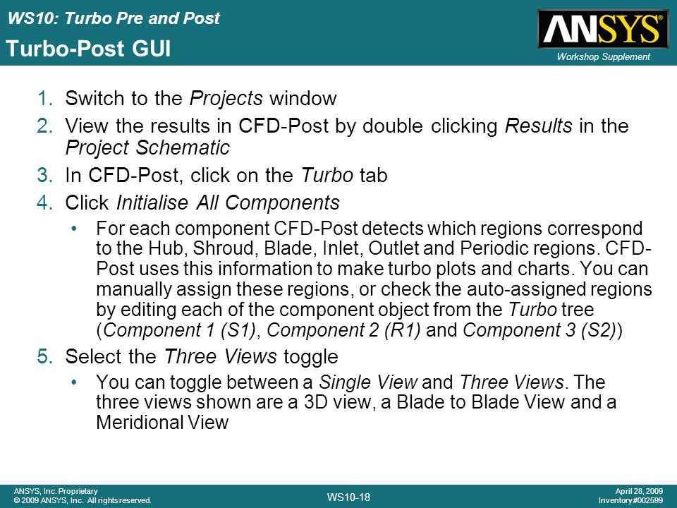 Turbo-Post GUI Switch to the Projects window