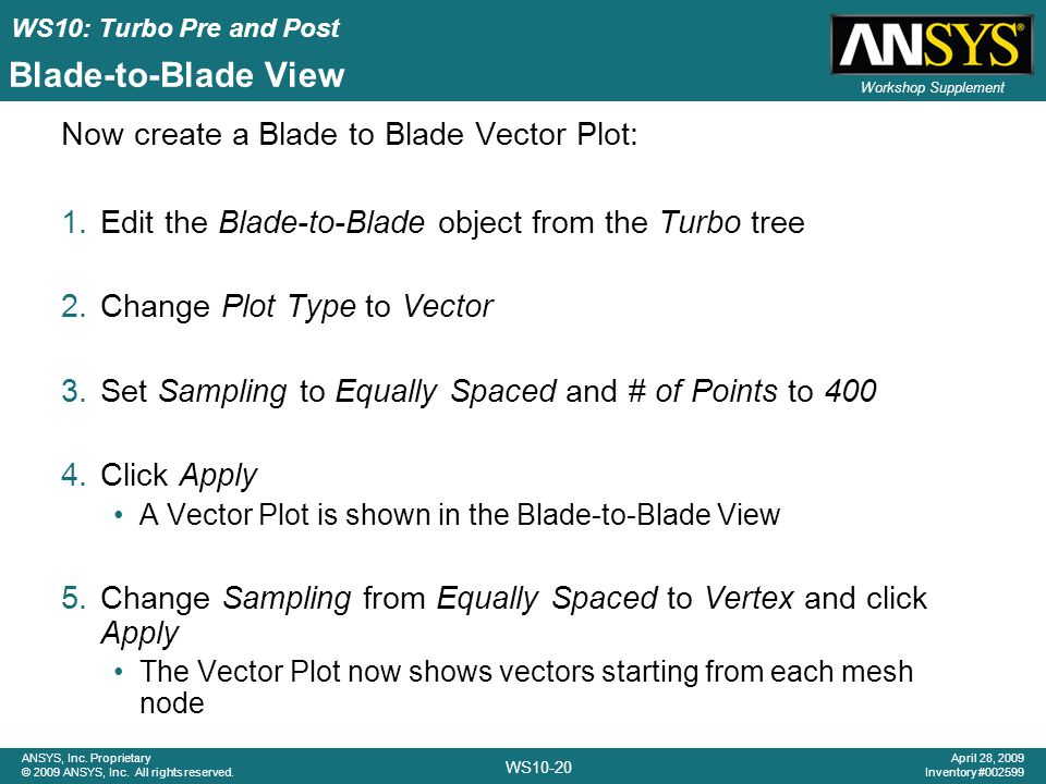 Blade-to-Blade View Now create a Blade to Blade Vector Plot: