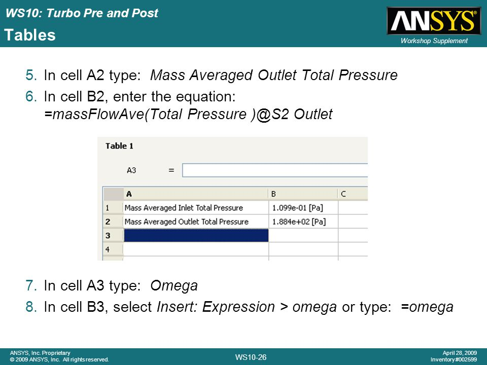 Tables In cell A2 type: Mass Averaged Outlet Total Pressure