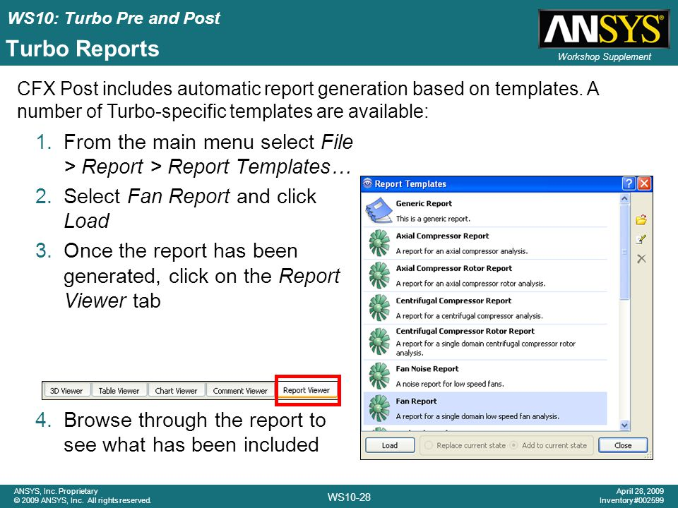 Turbo Reports CFX Post includes automatic report generation based on templates. A number of Turbo-specific templates are available: