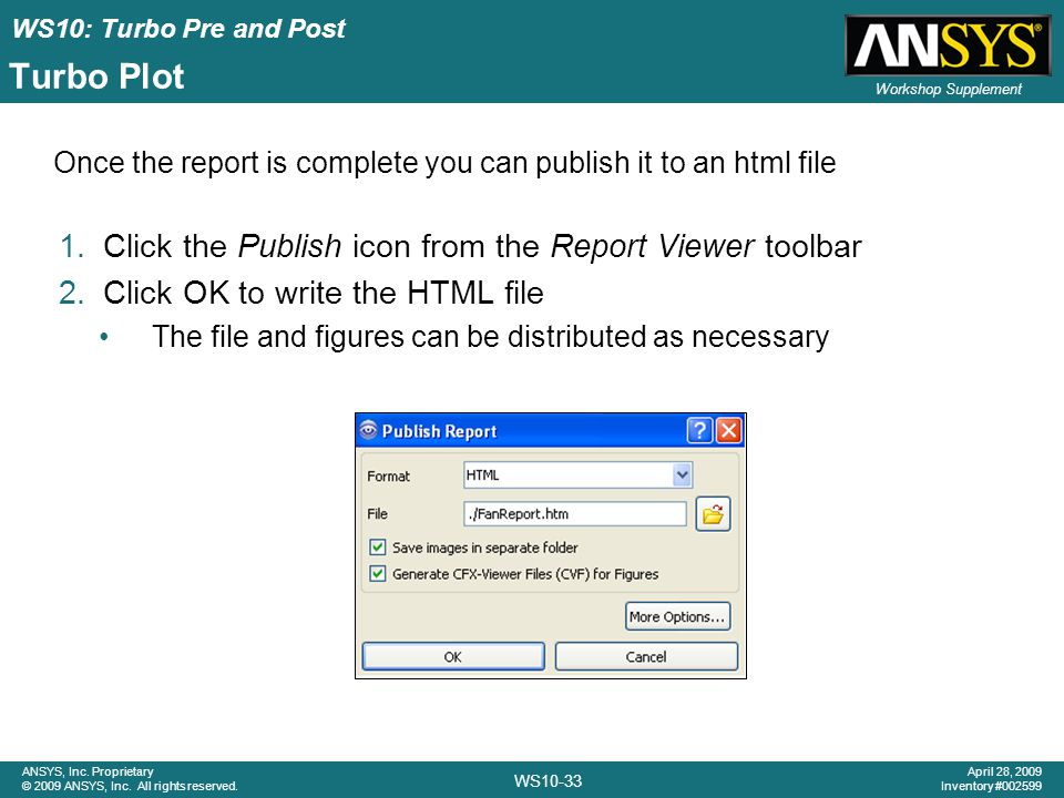 Turbo Plot Click the Publish icon from the Report Viewer toolbar