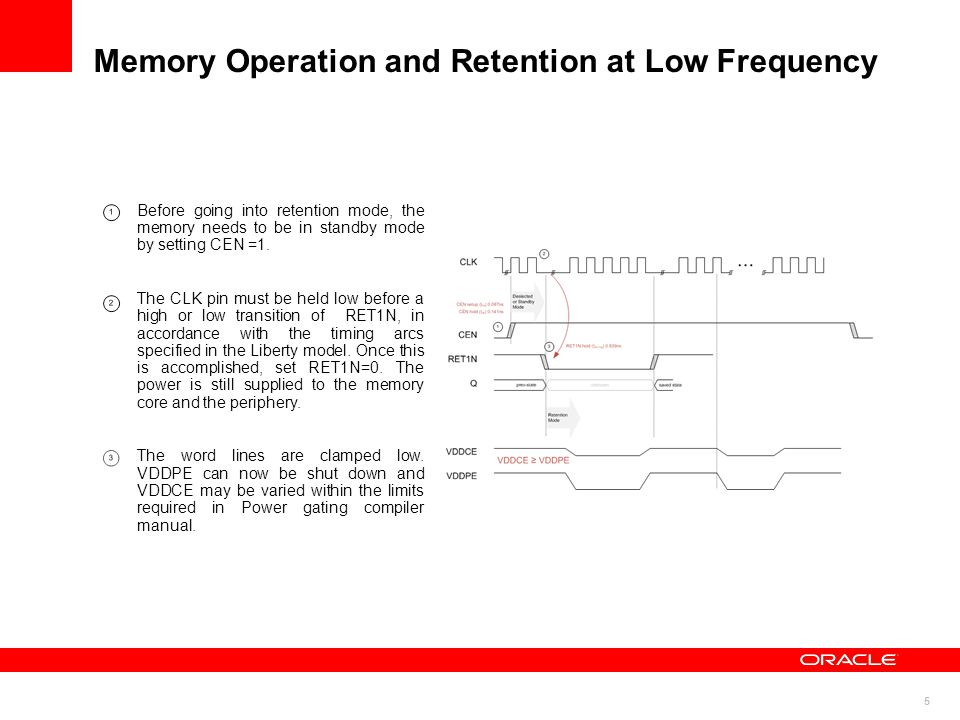 Memory Operation and Retention at Low Frequency