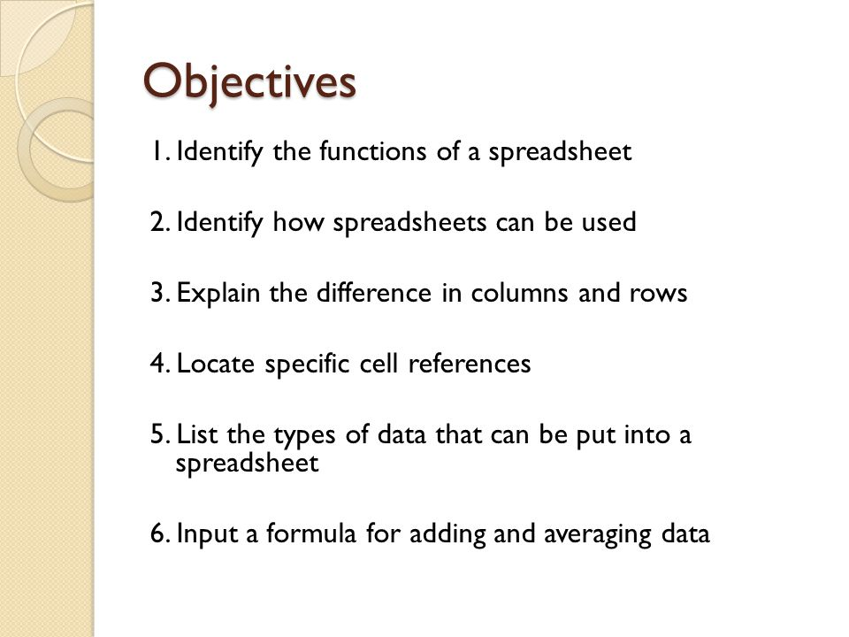 Objectives 1. Identify the functions of a spreadsheet