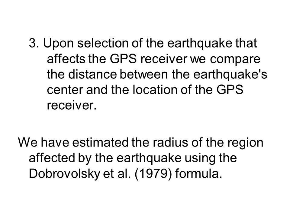 3. Upon selection of the earthquake that