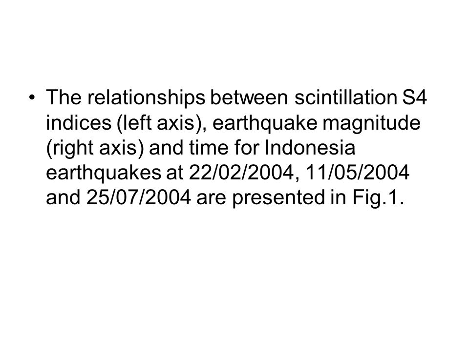 The relationships between scintillation S4 indices (left axis), earthquake magnitude (right axis) and time for Indonesia earthquakes at 22/02/2004, 11/05/2004 and 25/07/2004 are presented in Fig.1.