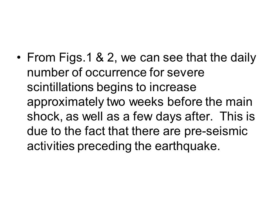 From Figs.1 & 2, we can see that the daily number of occurrence for severe scintillations begins to increase approximately two weeks before the main shock, as well as a few days after.