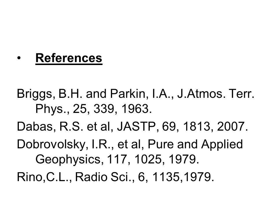 References Briggs, B.H. and Parkin, I.A., J.Atmos. Terr. Phys., 25, 339, 1963. Dabas, R.S. et al, JASTP, 69, 1813, 2007.