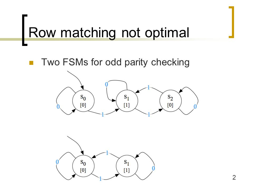 Row matching not optimal