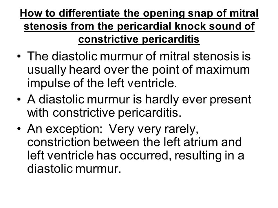 How to differentiate the opening snap of mitral stenosis from the pericardial knock sound of constrictive pericarditis