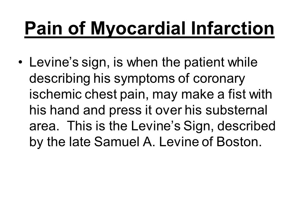 Pain of Myocardial Infarction