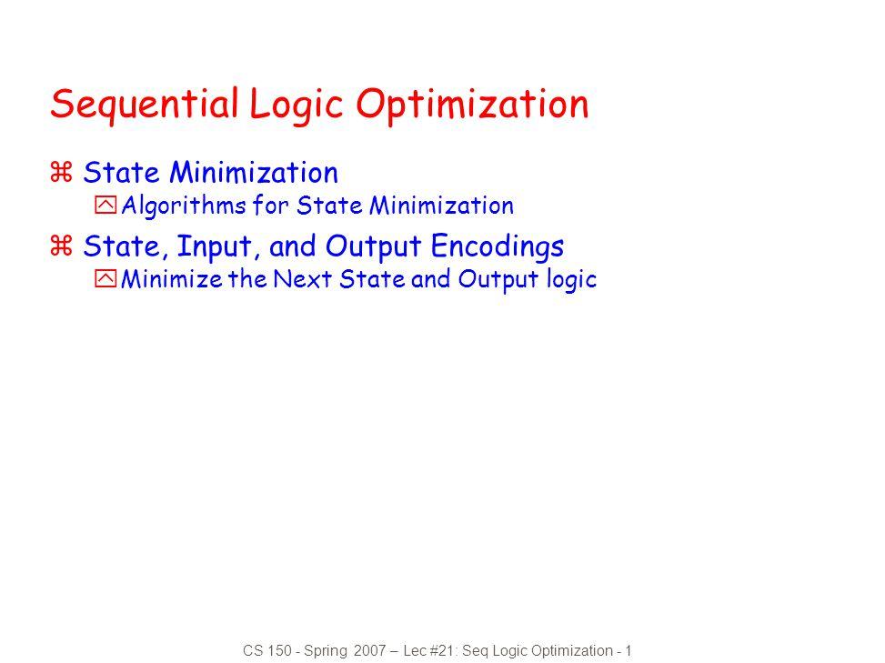 Sequential Logic Optimization