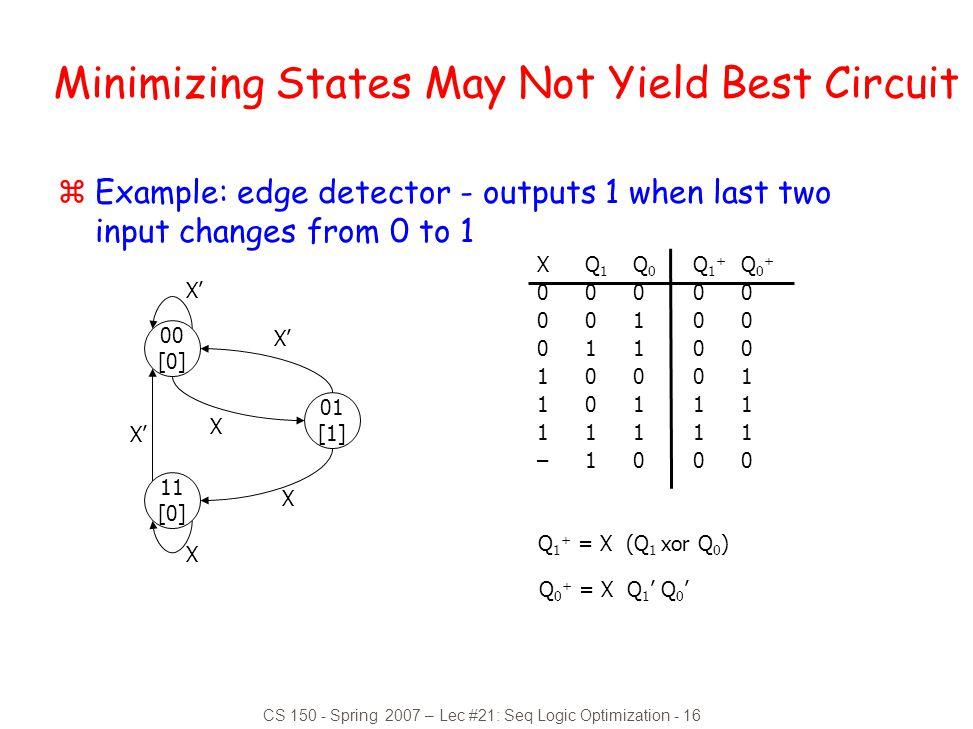Minimizing States May Not Yield Best Circuit