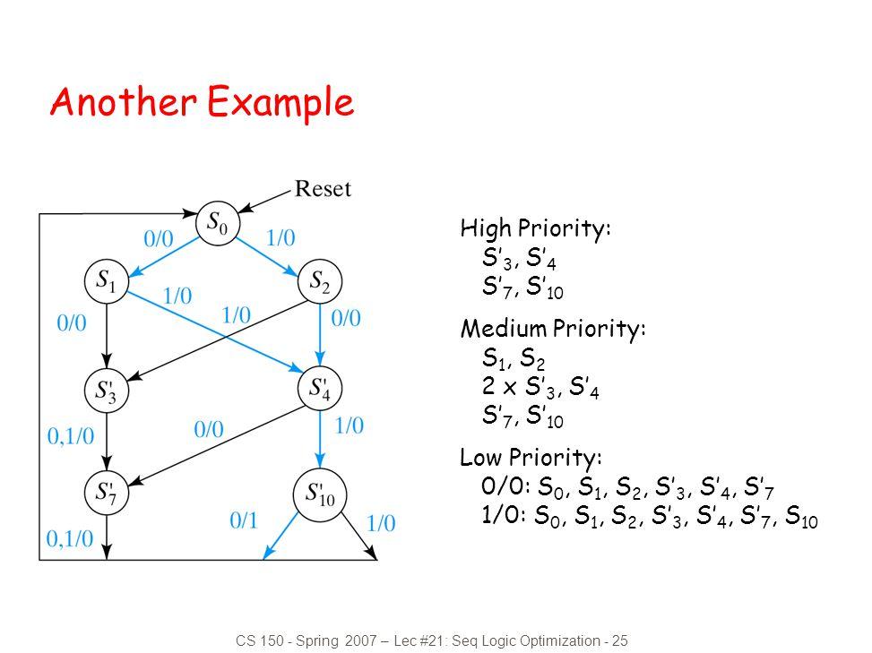 CS 150 - Spring 2007 – Lec #21: Seq Logic Optimization - 25