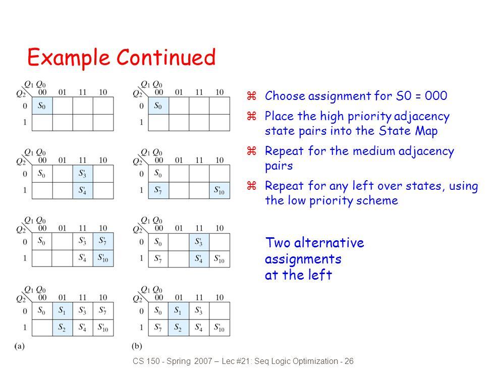 CS 150 - Spring 2007 – Lec #21: Seq Logic Optimization - 26