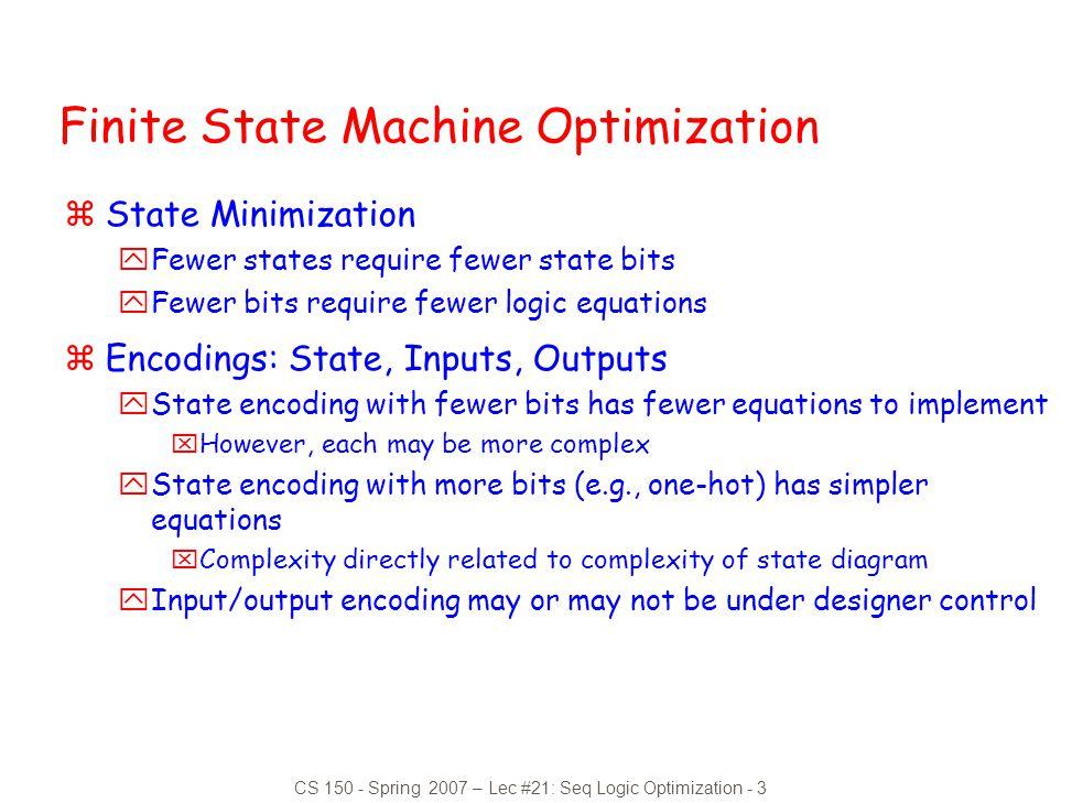 Finite State Machine Optimization