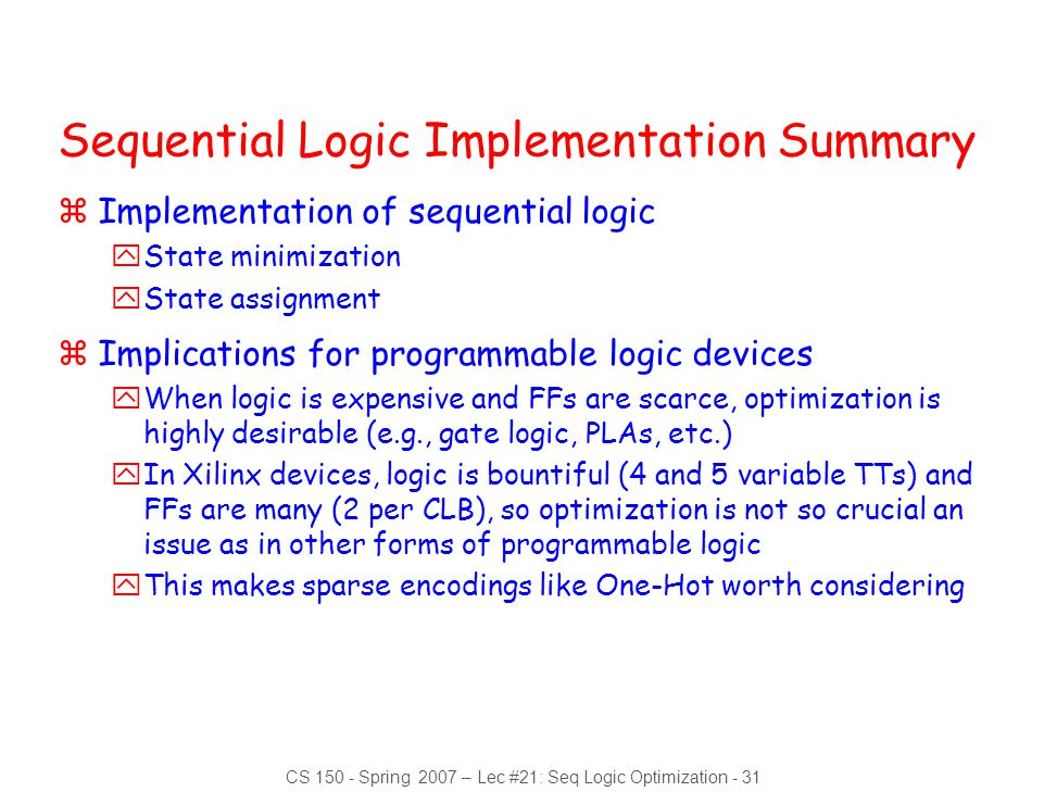 Sequential Logic Implementation Summary
