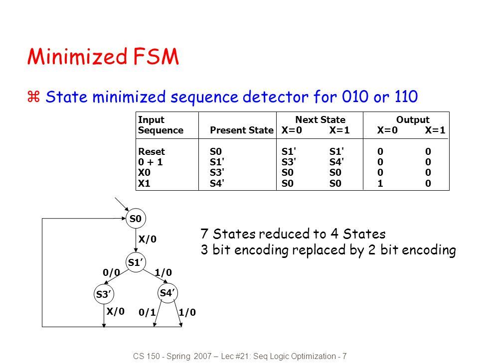 CS 150 - Spring 2007 – Lec #21: Seq Logic Optimization - 7
