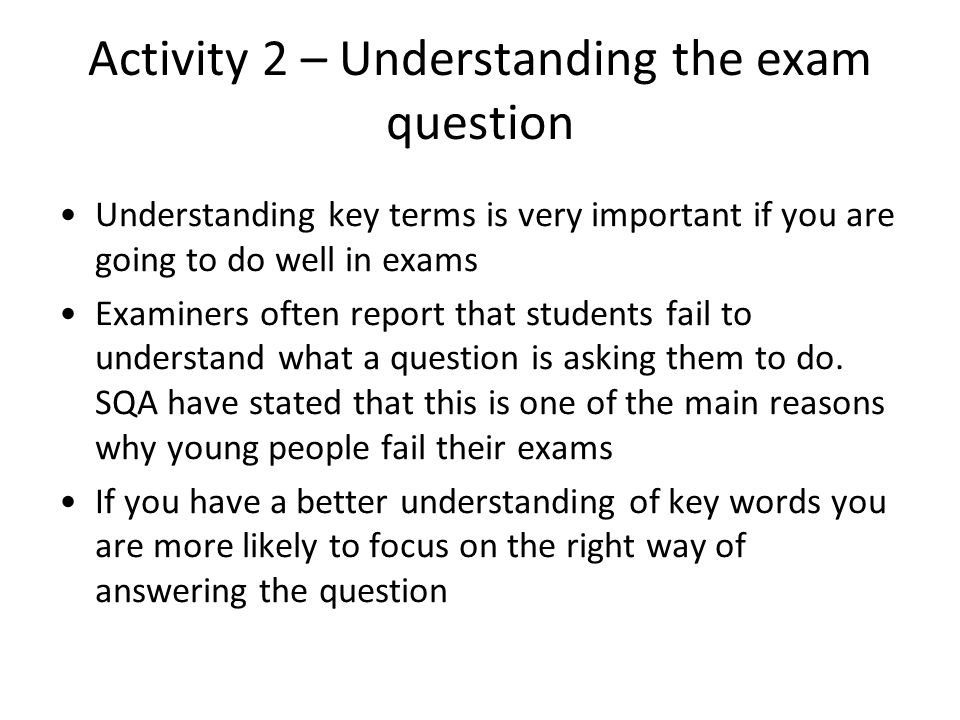 Activity 2 – Understanding the exam question