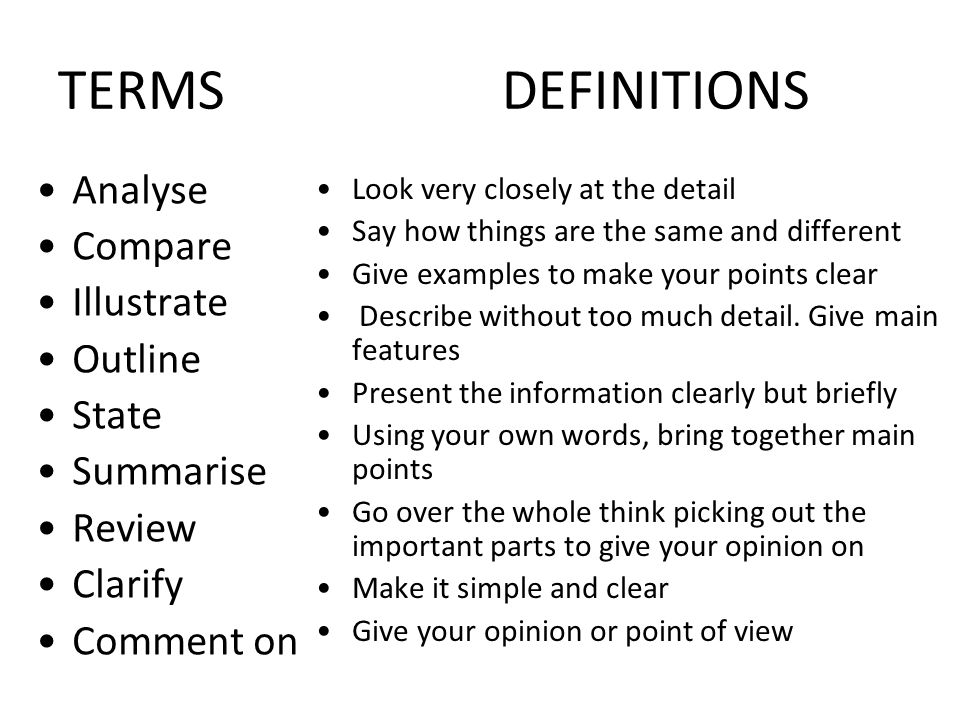 TERMS DEFINITIONS Analyse Compare Illustrate Outline State Summarise
