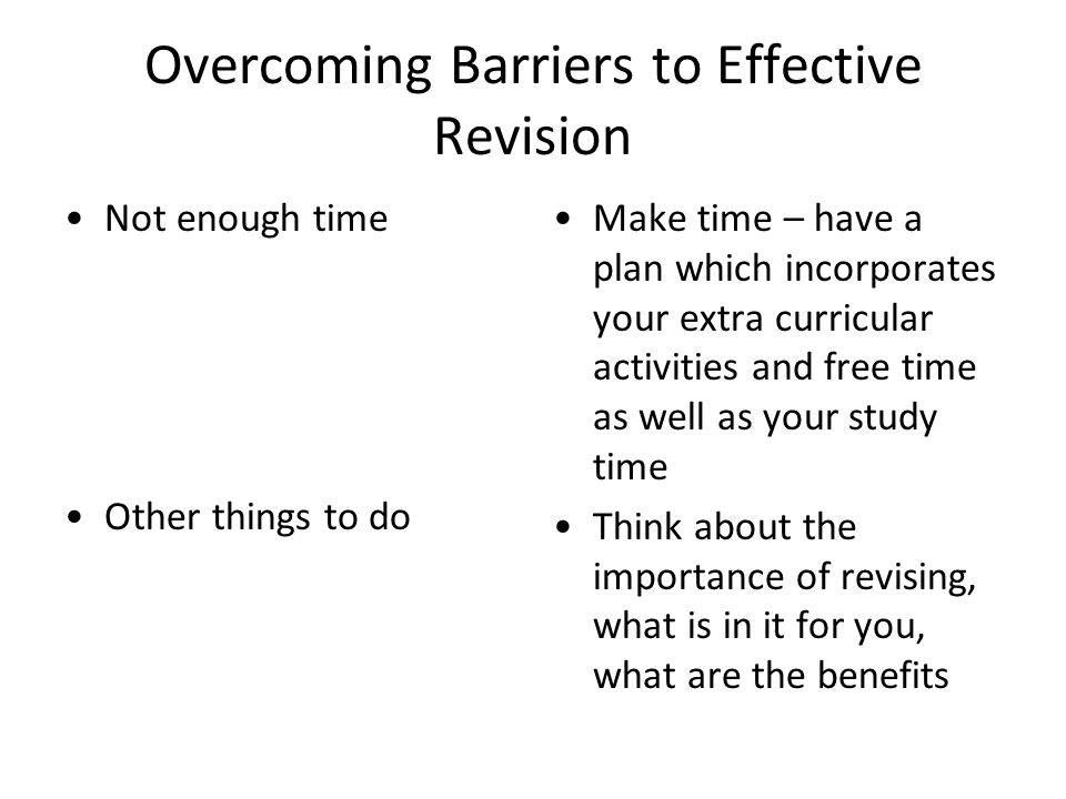 Overcoming Barriers to Effective Revision