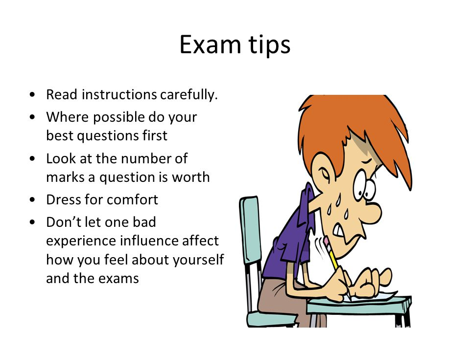 Exam tips Read instructions carefully.