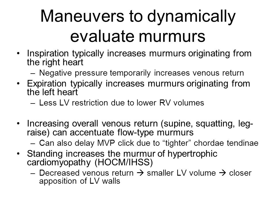 Maneuvers to dynamically evaluate murmurs