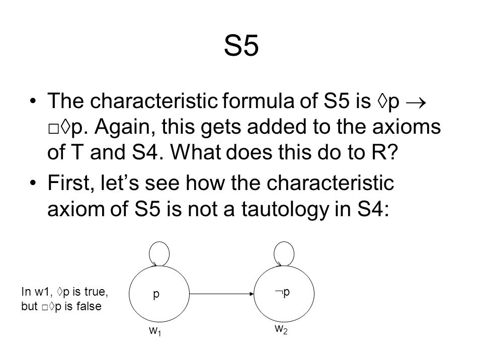 S5 The characteristic formula of S5 is ◊p  □◊p. Again, this gets added to the axioms of T and S4. What does this do to R