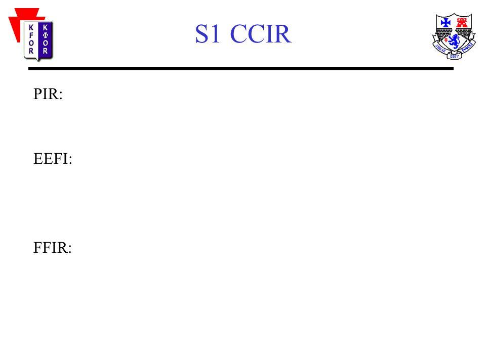 S1 CCIR PIR: EEFI: FFIR: