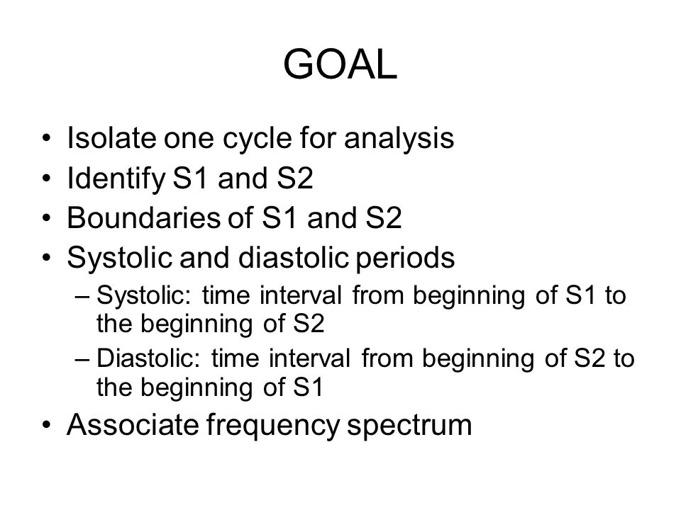 GOAL Isolate one cycle for analysis Identify S1 and S2