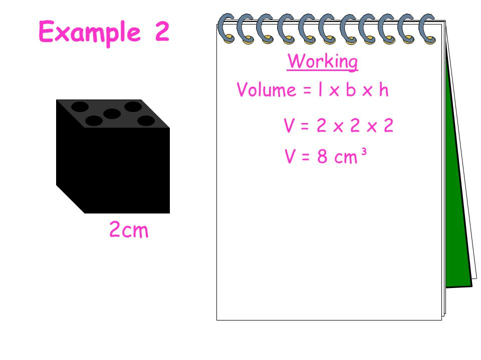 Example 2 Working Volume = l x b x h V = 2 x 2 x 2 V = 8 cm³ 2cm