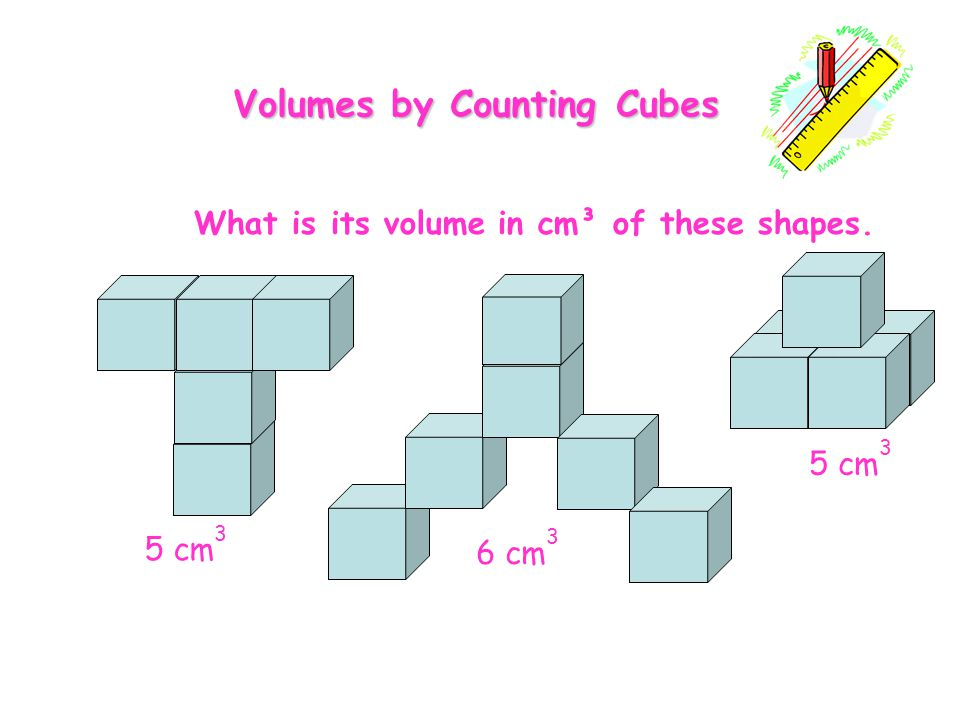 Volumes by Counting Cubes What is its volume in cm³ of these shapes.