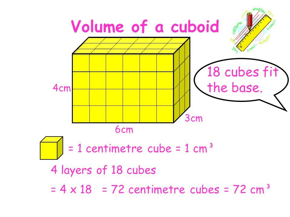 Volume of a cuboid 18 cubes fit the base. = 1 centimetre cube = 1 cm³