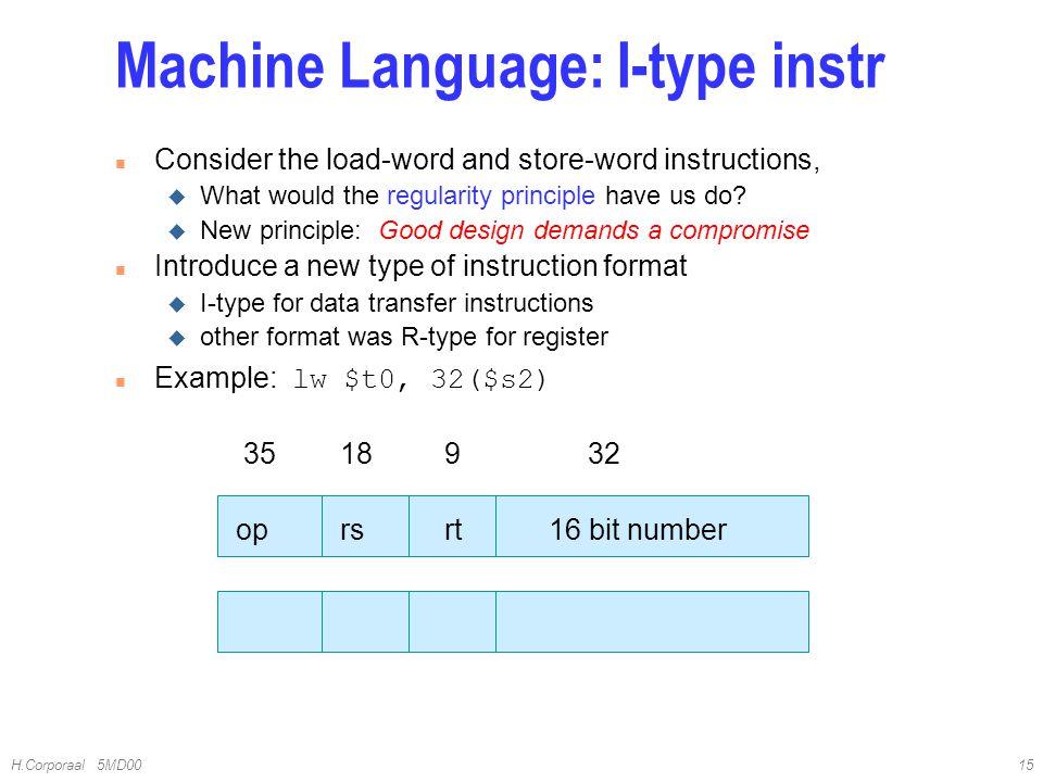 Machine Language: I-type instr