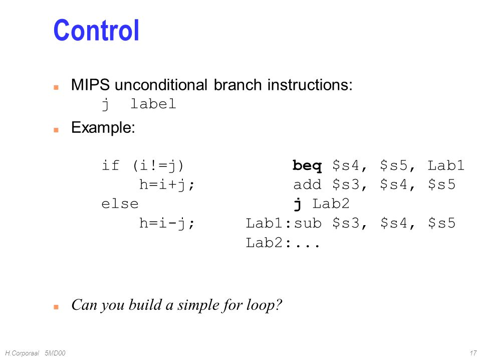 Control MIPS unconditional branch instructions: j label