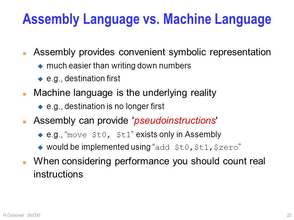 Assembly Language vs. Machine Language