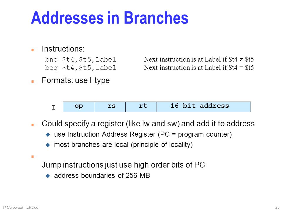 Addresses in Branches Instructions: Formats: use I-type