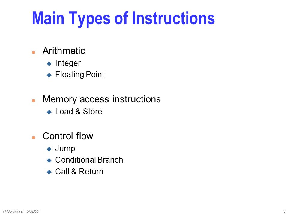 Main Types of Instructions