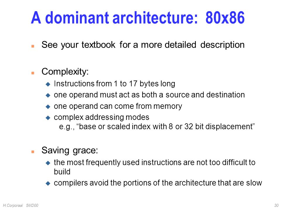 A dominant architecture: 80x86