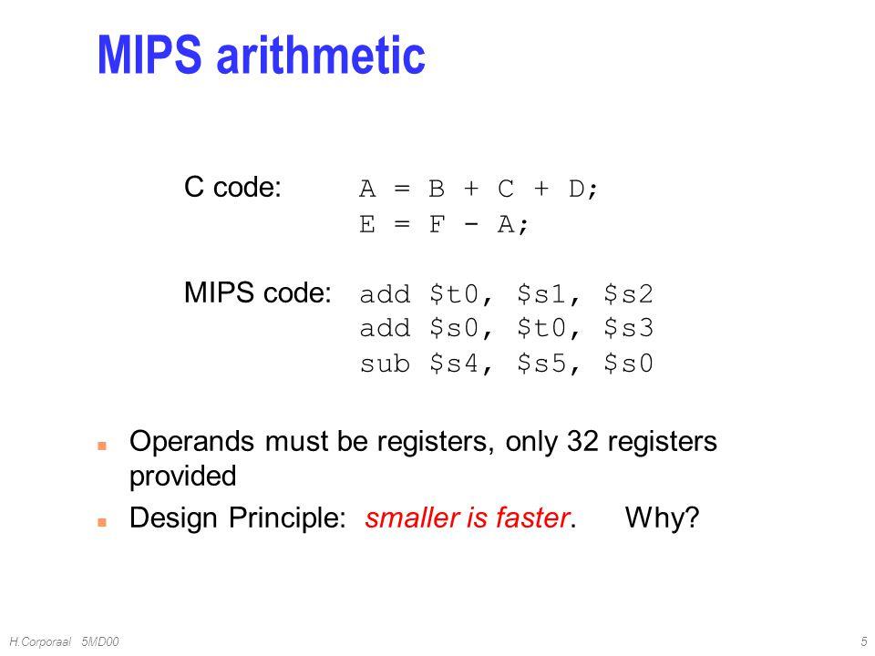 4/10/2017 MIPS arithmetic. C code: A = B + C + D; E = F - A; MIPS code: add $t0, $s1, $s2 add $s0, $t0, $s3 sub $s4, $s5, $s0.