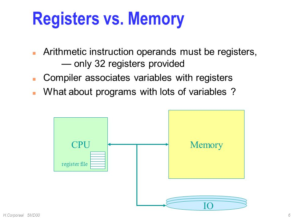 4/10/2017 Registers vs. Memory. Arithmetic instruction operands must be registers, — only 32 registers provided.