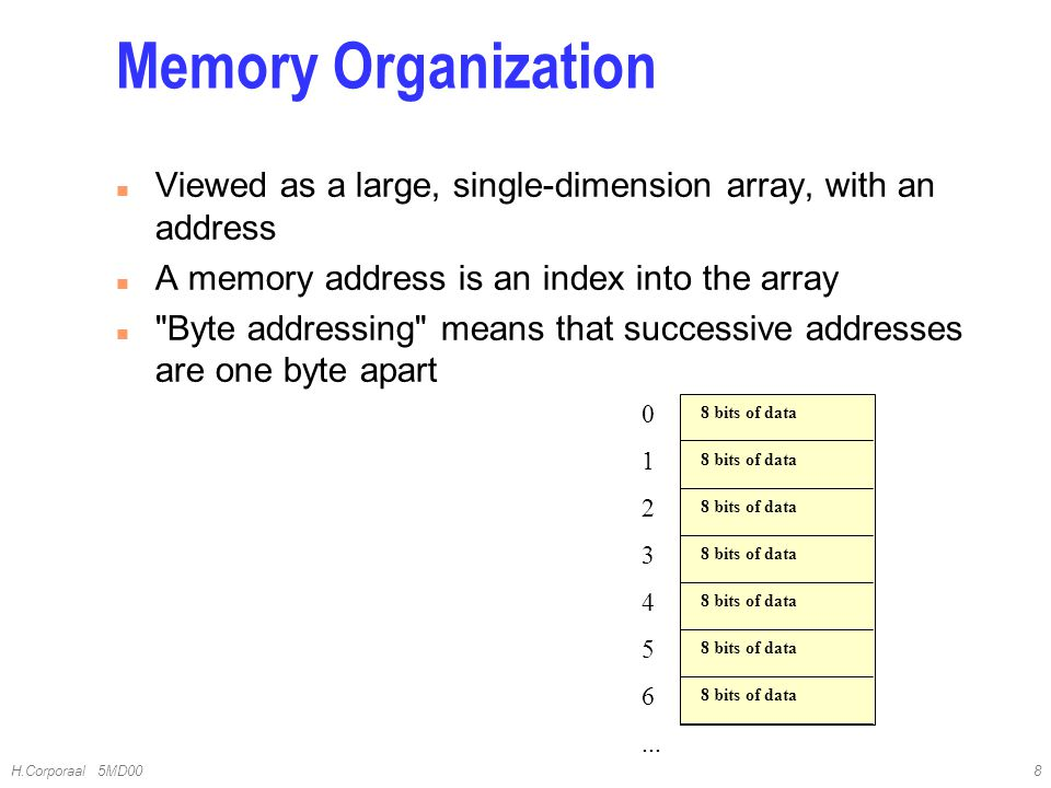 4/10/2017 Memory Organization. Viewed as a large, single-dimension array, with an address. A memory address is an index into the array.