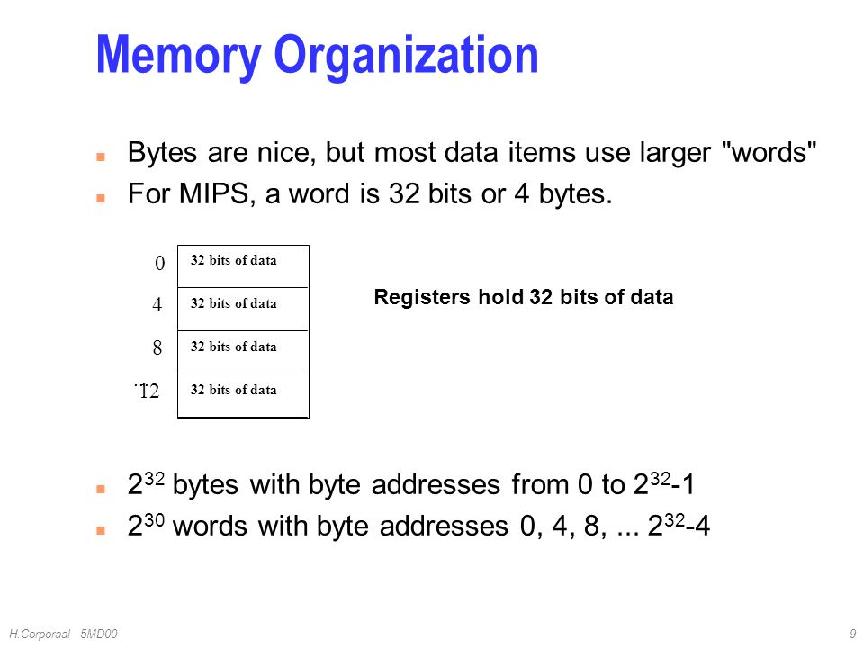 4/10/2017 Memory Organization. Bytes are nice, but most data items use larger words For MIPS, a word is 32 bits or 4 bytes.