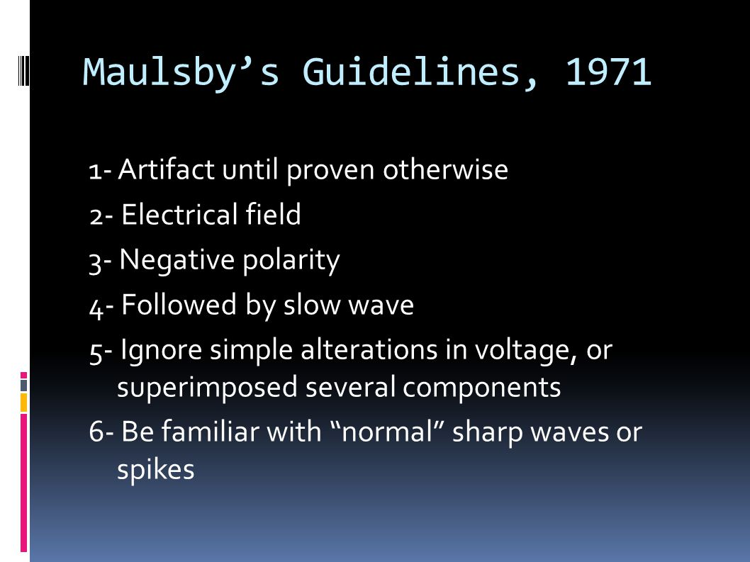 Maulsby's Guidelines, 1971