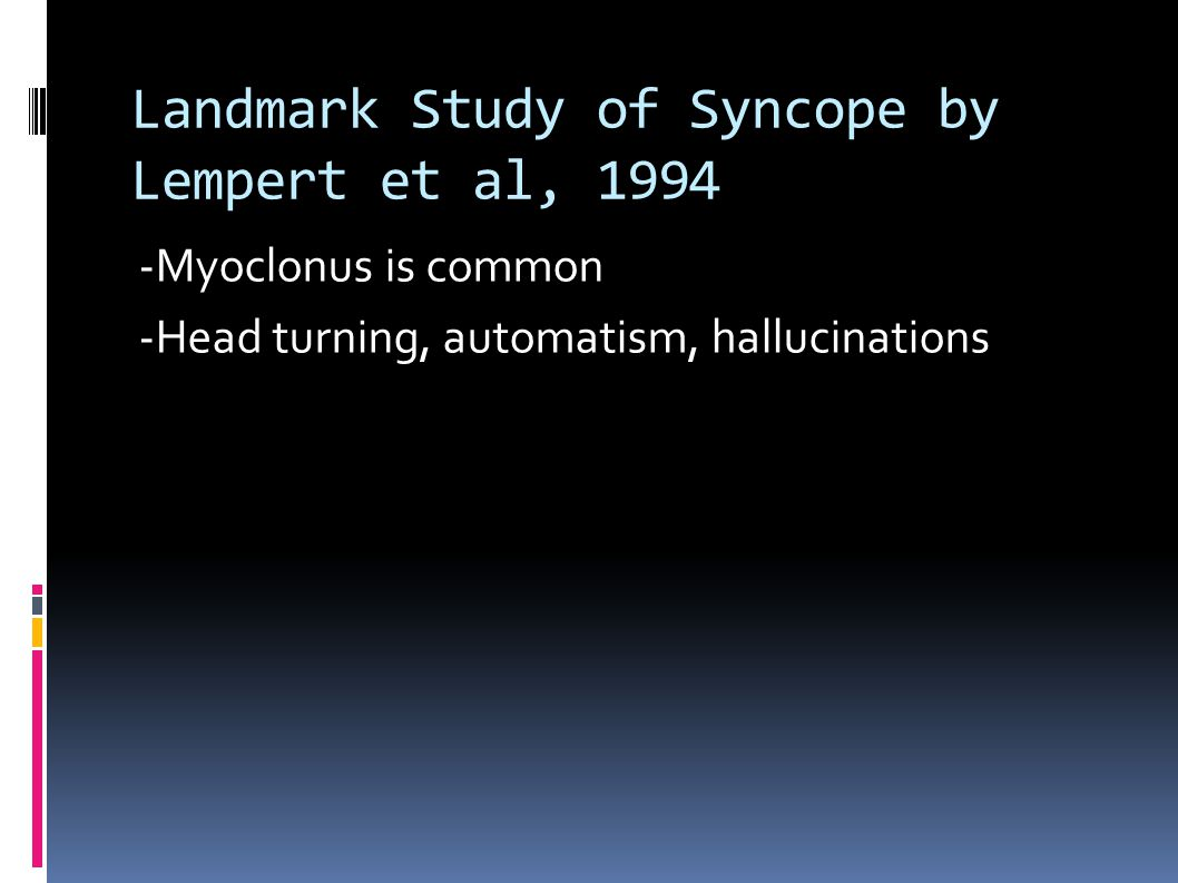 Landmark Study of Syncope by Lempert et al, 1994