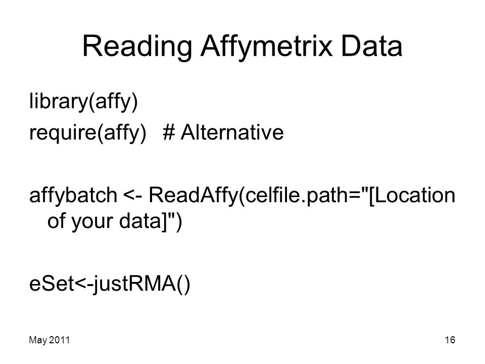 Reading Affymetrix Data