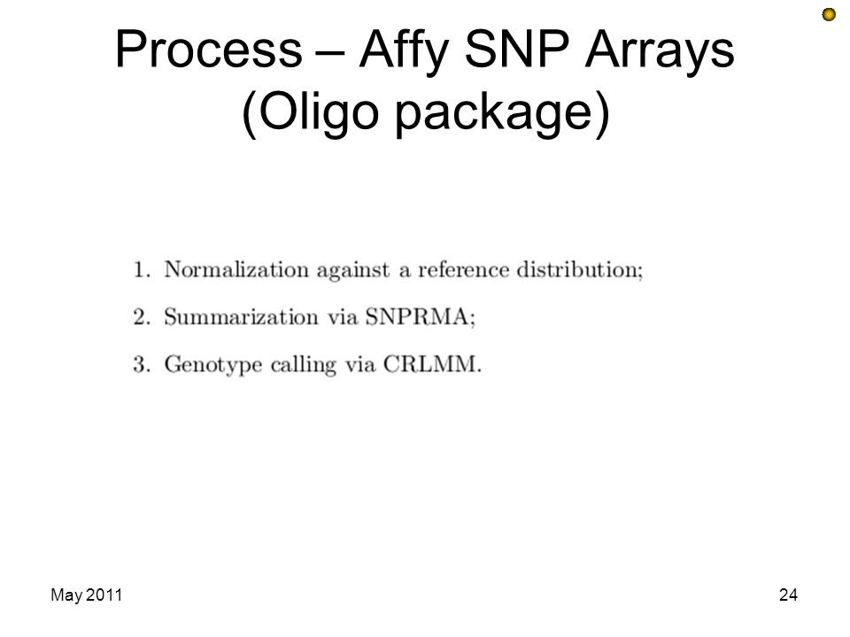 Process – Affy SNP Arrays (Oligo package)