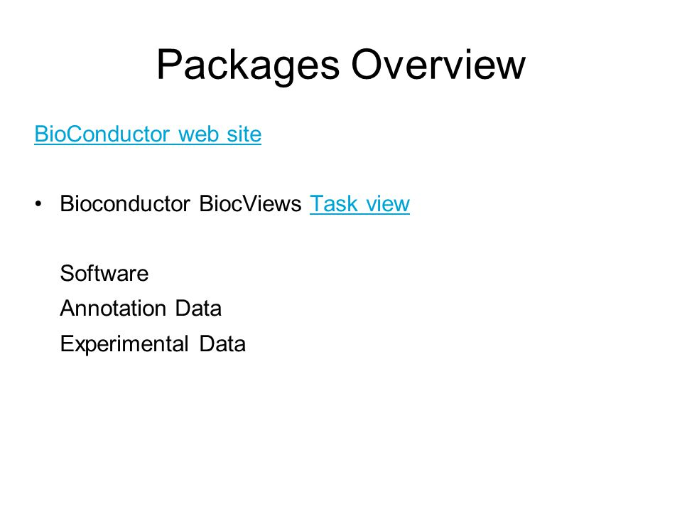 Packages Overview BioConductor web site