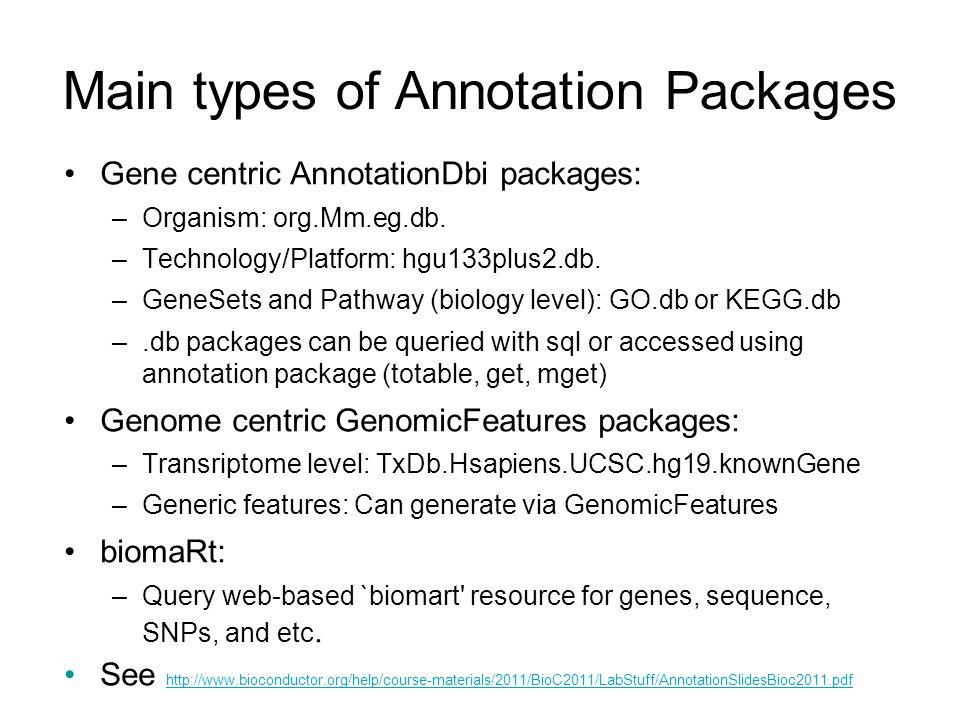 Main types of Annotation Packages
