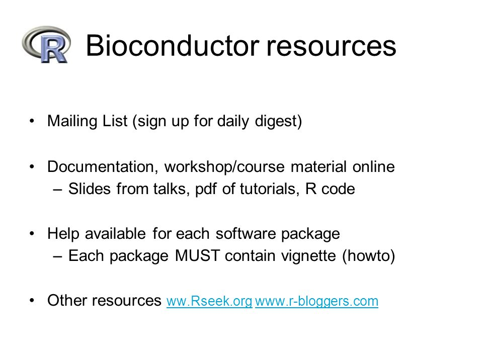 Bioconductor resources