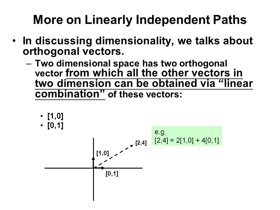 More on Linearly Independent Paths